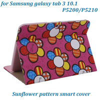 Hot!Colorful  Sunflower Stand Cover for Samsung Galaxy Tab 3 10 1 P5200 P5210 Smart Cover Card Holder Wallet Leather Case 5pcs