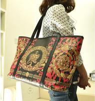 2014 National Autumn Vintage Crown Handbag Pu Leather Women Shoulder bag Female bags big bag large capacity Tote High Quality