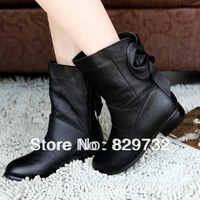 Free shipping 2013 new genuine leather boots female women motorcycle boots ankle boots tassel flat heel cotton-padded shoes