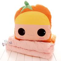 Cartoon orange plush doll sanded blending cotton cushion pillow air conditioning quilt stuffed doll