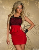 M L Plus Size Freeshipping 2013 New Fashion Women Sexy Floral Lace Bodycon Peplum Casual Dress 9026