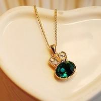 Accessories onrabbit green full rhinestone rabbit crystal pendant short design necklace female chain