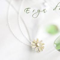 Accessories korean fresh small daisy brief flower charm necklace female