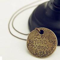 E1123 vintage necklace round letter love letter design long necklace female