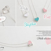 E1149 small heart simple blue paint silver necklace female necklace