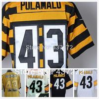 Free Shipping new cheap american football jersey #43 Troy Polamalu black/white men's football Jersey stitched logos