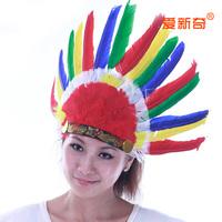 Performance props ball cos headband multicolour feather head cap