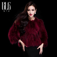 New 2013 women winter raccoon fur coat o-neck short design female fur jacket