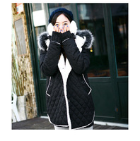 new 2013 winter coat 2012 plus size clothing black cotton-padded berber fleece thermal wadded jacket double