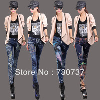 2013 winter new painted jeans for women leopard diamond casual vintage slim hot skinny straight denim pencil pants