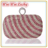 New Arrival Luxury Full Diamond Stripe Clutch Evening Bag. Rhinestones Ring Buckle Women Messenger Bag Multicolor Free Shipping