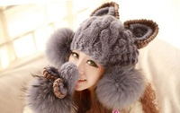 2013 Autumn and winter free shipping Wool knitted women's fashion cat bunny fur ear design cap