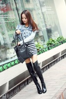 2013 fashionable casual cowhide round toe high-heeled boots buckle zipper tall boots female plus size customize