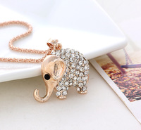 2013 women New Crystal Thai cute Elephant Necklace  Accessories Sweater chain necklace jewelry Christmas gift min order $8
