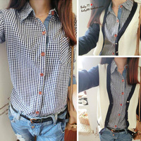 2013 women's autumn preppy style slim plaid shirt denim shirt female long-sleeve