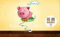 3D wallpaper wall, children's room bedroom bedside lamp, cartoon creative decorative wallpaper lights, Pink Pig