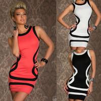 Fashion Women Sexy Dress set ( Tight Mini Dress+G-string) Striped Slim Clubwear Costumes Skinny Clubbing wear Thin One-piece D78