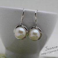 Free Shipping Nature Freshwater Pearl Drop Earring  S925 Drop Earring