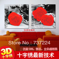 free shipping 3d cloth cross stitch sets accurate printed cross stitching kit painting diy needlework  flower rose pattern 2pcs