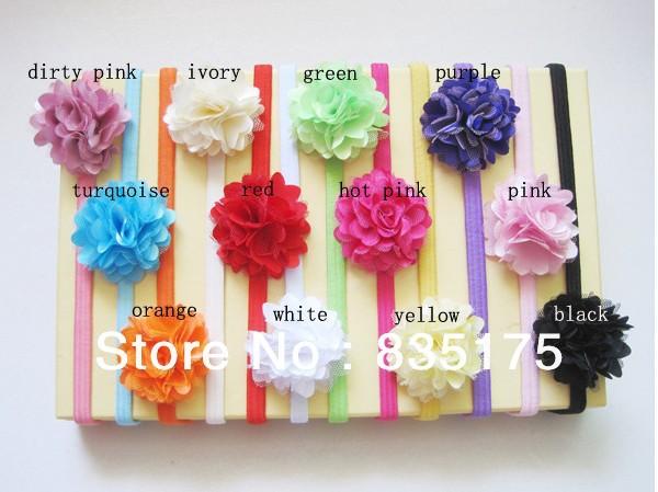 Free shipping handmade wholesale goody small satin mesh flower baby headband(China (Mainland))
