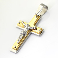 Religion Jewelry, 58*35mm 27.5g Classic 316L Stainless Steel Silver 18K Gold Plated Cross Men's Pendant Neklace, One Free Chain