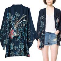 Autumn z women's print kimono women's blue short-sleeve small stand collar long top female casual loose jacket
