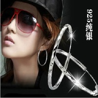 Free shipping 925 sterling silver hoop earrings jewelry woman's ear buckle