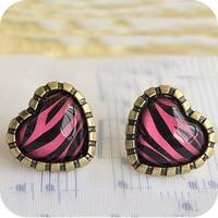 0412 accessories vintage purple horizontal stripe leopard print laciness stud earring love female