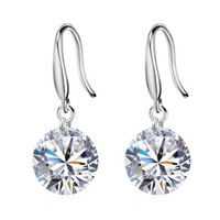 Free shipping Russia 925 pure silver earrings female fashion sparkling zircon crystal earring anti-allergic