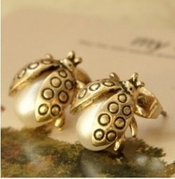 Vintage exquisite 0392 all-match pearl 7-star small ladybug beetle stud earring
