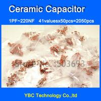Free Shipping 41valuesX50pcs=2050pcs Ceramic Capacitor Assortment Kit 1PF ~ 220NF Pack