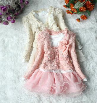 Wholesale baby Girls Clothing Set coat+Tutu Cake Dress childrens outfits set,2pcs/set 2 color 4 size high free shipping 2-6 year