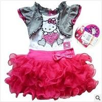 5pcs/lot hello kitty dresses girls dress pink dress baby dress kids clothes children wear baby clothing 2014 new