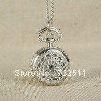Fashion Charm Silver Hollow Quartz Pocket Watch Pendant Necklace Chain Xmas Gift