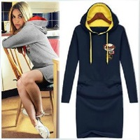 2013 New hot sale autumn and winter hooded dress women casual long sleeve cotton dress size S-XXXXL