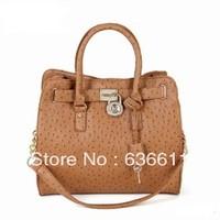 2013 autumn fashion Ostrich women leather handbag hardware lock shoulder bag vintage  bag for women messenger bags tote