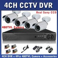 CCTV System Kits 4ch Full D1 DVR Recorder with 4pcs 480TVL SONY IR Camera 3.6mm Lens 24Pcs IR LED 20M IR Distance Free Shipping