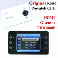 K6000 Car DVR HD 1080P Recorder HDMI 25FPS night vision 5MP Camera G-Sensor CMOS Car NOVATEK 96220 chipest free shipping