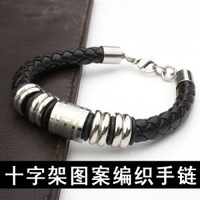 (Minimum order $ 10) Five segments concise cross pattern woven rope bracelets titanium stainless steel jewelry wholesale new