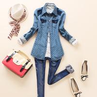 Spring fashion cool slim short patchwork design polka dot long-sleeve denim shirt female