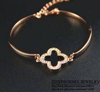 HEB033  Wholesale 14K Rose Gold plated Titanium Flowers Bangles Bracelets Jewelry women pulseiras femininas pulseras mujer