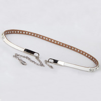 Genuine leather thin belt rhinestone belt all-match women's strap