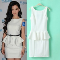 2013 new autumn winter brand start women's elegant slim bodycon bandage dress party peplum midi novelty dress