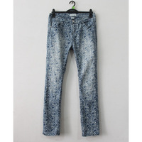 free shipping Mm plus size clothing autumn vintage blue and white porcelain water wash denim trousers