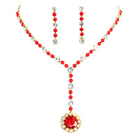 Colour bride beads red crystal necklace chain sets wedding accessories wedding jewellery
