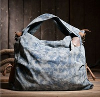 Free shipping 20134 Water wash canvas crazy horse leather women's shoulder bag casual cross-body handbag blue khaki color