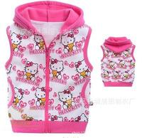 Retail  Children 100% cotton vest Mickey cartoon terry cloth hooded vest size 95 100 110 120 130 140