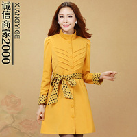 2013 spring and autumn new arrival slim women's plus size stand collar single breasted trench polka dot outerwear f01