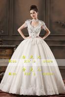 2013 new arrival wedding dress bride sexy deep V-neck racerback wedding princess puff sleeve luxury white wedding dress