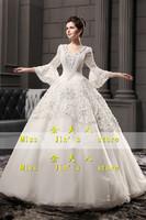 2013 new arrival wedding dress long-sleeve wedding dress bride princess handmade luxury wedding dress